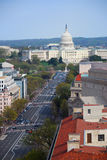 Washington DC. Aerial view with capitol hill building and Pennsylvania avenue Stock Photos