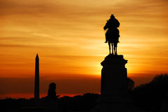Washington DC. Statue of General Grant silhouette of US grant memorial and Washington Monument at sunset, Washington DC Stock Images