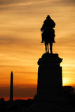 Washington DC. Statue of General Grant of US grant memorial and Washington Monument silhouette at sunset, Washington DC Royalty Free Stock Images