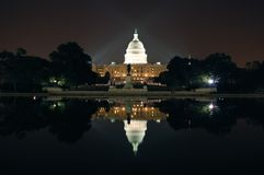Washington DC. Capitol hill. Night view in front of the lake Royalty Free Stock Photography