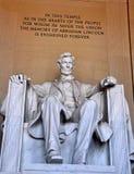 Washington DC: Abraham Liincoln Sculpture på Lincoln Memorial Arkivbild