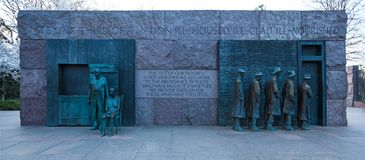 WASHINGTON, DC - April 08, 2018: The Breadline and The Rural Couple Sculptures by George Segal created, Franklin Delano Roosevelt stock photo