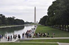 Washington DC Augusti 5th: Washington Obelisk i den nationella gallerian från Washington District av Columbia Royaltyfri Fotografi