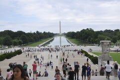 Washington DC Augusti 5th: Washington Obelisk i den nationella gallerian från Washington District av Columbia Arkivfoto
