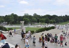 Washington DC, 5 Augustus: Lincoln Memorial Esplanade van Washington District van Colombia stock afbeeldingen