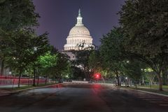 Washington DC, bâtiment de capitol des USA la nuit Images stock