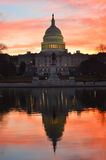 Washington DC, Capitol building in a red dusk Stock Images