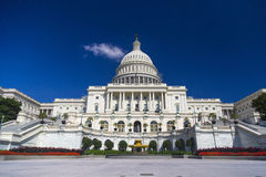 Washington DC, capitol des USA construisant en août pendant le temps clair Image libre de droits