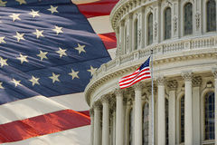 Washington DC Capitol detail with american flag. Washington DC Capitol dome detail on american flag background Royalty Free Stock Photos