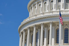 Washington DC Capitol detail. With waving american flag Stock Photography