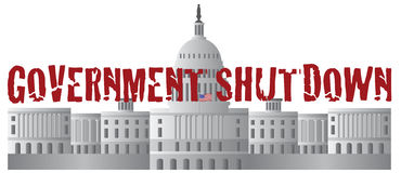 Washington DC Capitol Government Shutdown Text Royalty Free Stock Photo