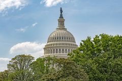 Washington DC Capitol view on cloudy sky background Stock Photography