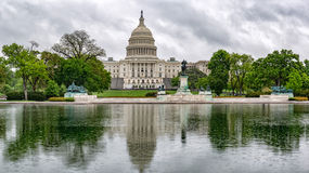 Washington DC Capitol view on rainy day. Washington DC Capitol dome view from the mall Royalty Free Stock Photos