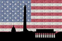 Washington DC with cash and flag Stock Image
