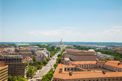 Washington, DC city aerial view. With the State Capitol building stock image
