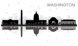 Washington DC City skyline black and white silhouette with Refle Stock Images