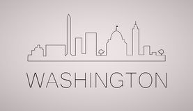 Washington dc city skyline black and white silhouette. Vector illustration. Cityscape with landmarks Royalty Free Stock Photo