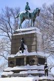 Washington DC da neve da estátua de Sherman Fotografia de Stock Royalty Free