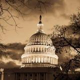 Washington DC - de bouwkoepel van het Capitool in sepia Stock Afbeelding