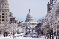 Washington DC de capital de la nieve de la avenida de los E.E.U.U. Pennsylvania Foto de archivo libre de regalías