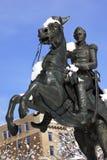 Washington DC de neige de statue de Jackson Image libre de droits