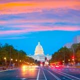 Washington DC del viale della Pensilvania di tramonto del Campidoglio Fotografia Stock Libera da Diritti