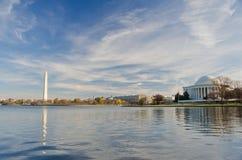 Washington DC - Denkmal und Jefferson-Denkmal Lizenzfreie Stockfotos