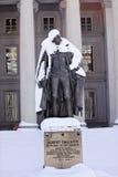 Washington DC di Ministero del Tesoro degli Stati Uniti della neve della statua della gallatina Fotografia Stock Libera da Diritti