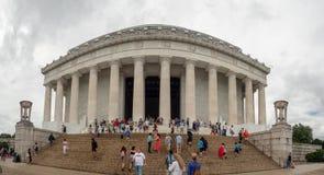 Washington DC District of Columbia [Förenta staterna USA, Lincoln Memorial över reflexionspöl, inre och yttre, royaltyfri foto