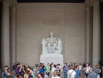 Washington DC District of Columbia [Förenta staterna USA, Lincoln Memorial över reflexionspöl, inre och yttre, royaltyfri fotografi