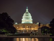 Washington DC, District of Columbia [United States US Capitol Building, night view with lights over reflecting pond,. Washington DC, District of Columbia, [ royalty free stock photography