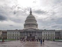 Washington DC, District de Columbia [bâtiment de capitol des Etats-Unis USA, temps nuageux louche avant de pleuvoir, crépuscule f photos stock