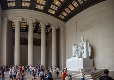 Washington DC, District van Colombia [Verenigde Staten de V.S., Lincoln Memorial over Bezinningspool, binnenland en buitenkant, stock foto