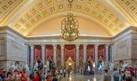 Washington DC, dystrykt kolumbii [Stany Zjednoczone Capitol wnętrze, obwód federalny, turystyczny gościa centrum, rotunda z fresk zdjęcia stock