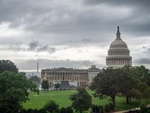 Washington DC, dystrykt kolumbii [Stany Zjednoczone USA Capitol budynek, ciemniutka chmurna pogoda przed padać, faling półmrok obrazy royalty free