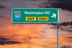 Washington DC Exit Only Freeway Sign with Sunrise Sky Stock Photos