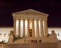 Washington DC för stjärnor för USA-högsta domstolenCapitol Hill natt Arkivbild