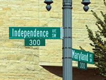 Washington, DC Street Sign. Washington, DC. famous Street sign. Independence Ave. is known for its many parades. Intersection of Independence and Maryland Aves Royalty Free Stock Photo