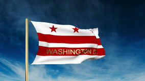 Washington dc flag slider style with title. Waving stock video footage