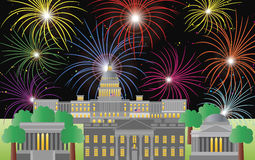 Washington DC Fourth of July Fireworks Stock Photography