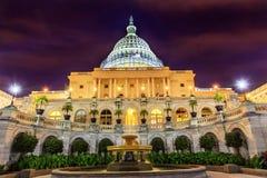 Washington DC för stjärnor för natt för springbrunn för södra sida för USA-Kapitolium Royaltyfria Foton