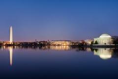 Washington DC - Gedenkteken Jefferson en Monument Stock Fotografie