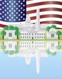 Washington DC-Grenzstein-Reflexion mit US-Markierungsfahne Stockfotos