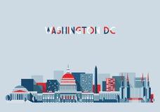 Washington DC Ilustracyjnej linii horyzontu Płaski projekt Fotografia Stock