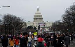 WASHINGTON DC - JAN 21, 2017: Kobiety ` s Marzec na Waszyngton Zdjęcie Royalty Free