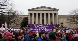 WASHINGTON DC - 21 JANUARI, 2017: Vrouwen ` s Maart op Washington Stock Foto