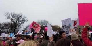 WASHINGTON DC - 21 JANVIER 2017 : ` De femmes s mars sur Washington Photo libre de droits