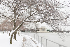 Washington DC - Jefferson Memorial in de winter Royalty-vrije Stock Foto
