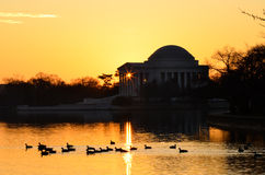 Washington DC - Jefferson Memorial silhouette at sunrise Stock Photography