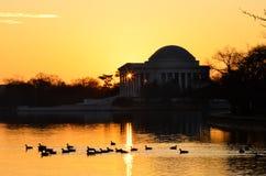Washington DC - Jefferson Pamiątkowa sylwetka przy wschodem słońca fotografia stock